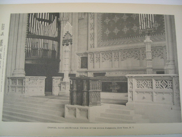Chancel, Altar and Retable of the Church of the Divine Paternity, New York, NY, 1899, W. A. Potter