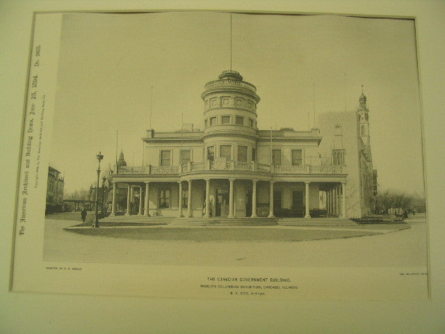 Canadian Government Building at the World's Columbian Exhibition in Chicago, Chicago, IL, 1894, R. E. Edis