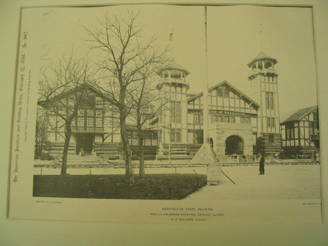 Washington State Building at the World's Columbian Exhibition in Chicago, Chicago, IL, 1894, W. P. Skillings