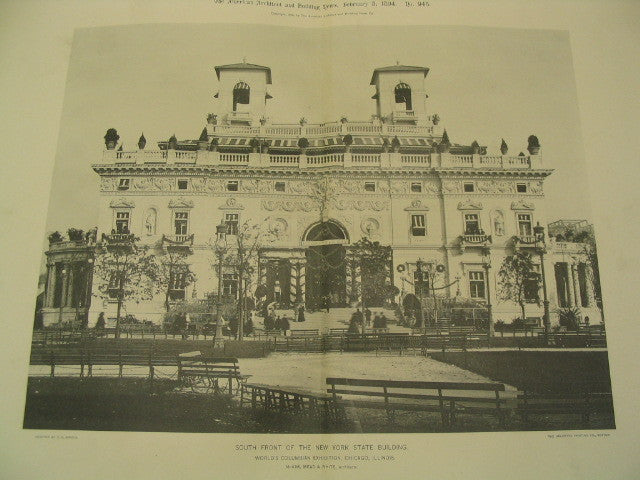 South Front of the New York State Building at the World's Columbian Exhibition in Chicago, Chicago, IL, 1894, McKim, Mead and White