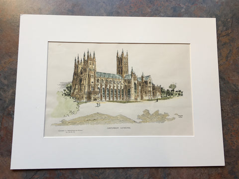 Canterbury Cathedral, England, UK, 1890, Original Hand Colored