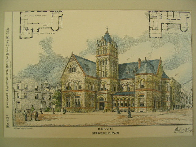United States Post Office in Springfield, Springfield, MA, 1888, William A. Lerel