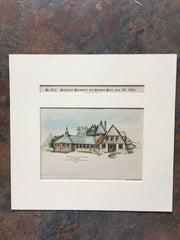 Stable, George Frank, Kearney, NE, 1891, Bailey & Farmer, Hand Colored Original