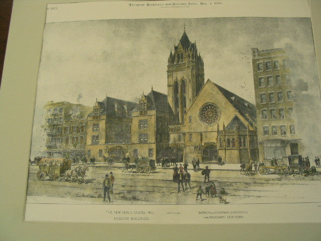 The New Grace Chapel and Mission Buildings, New York, NY, 1896, Barney and Chapman,