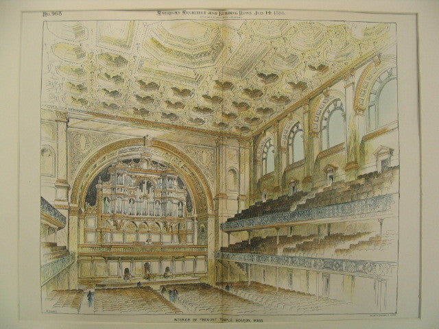 Interior of Tremont Temple, Boston, MA, 1894, Blackall and Newton