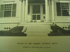 House of Mr. Parker, Detroit, MI, 1897, Rogers and MacFarlane