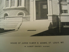 House of Judge Elmer B. Adams, St. Louis, MO, 1897, W. Albert Swasey