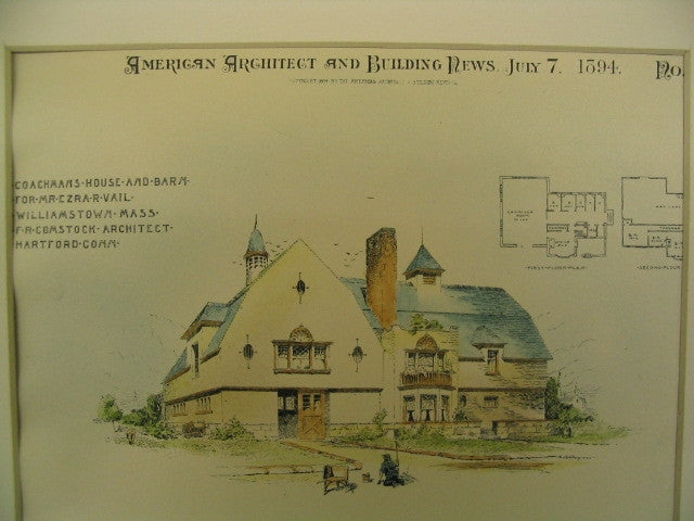 Coachman's House and Barn for Ezra R. Vail, Williamstown, MA, 1894, F. R. Comstock