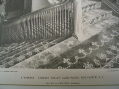 Staircase of the Genesee Valley Club-House, Rochester, NY, 1893, Du Fais and Canfield