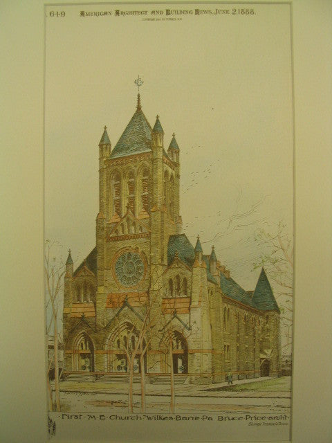 First M. E. Church , Wilkes-Barre, PA, 1888, Bruce Price
