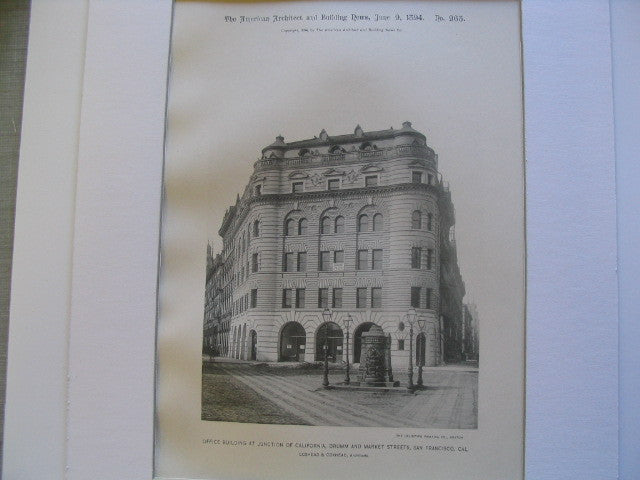 Office Building at the Junction of California, Drumm and Market Streets, San Francisco, CA, 1894, Coxhead and Coxhead