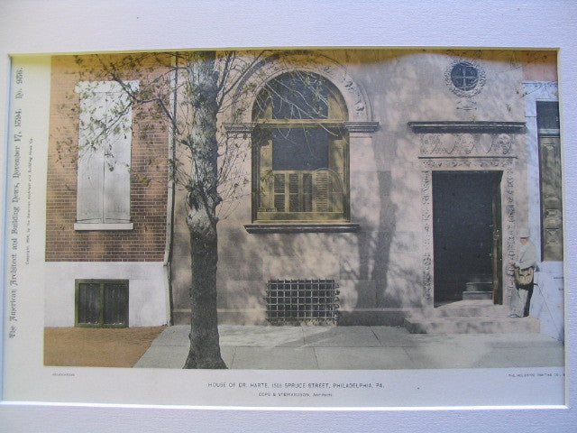 House of Dr. Harte, 1503 Spruce Street, Philadelphia, PA, 1894, Cope and Stewardson