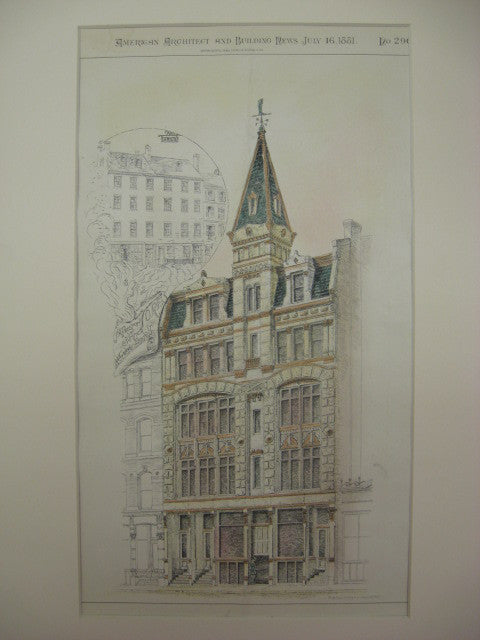 Building for J. A. Preston on Summer St., Boston, MA, 1881, Kirby and Lewis
