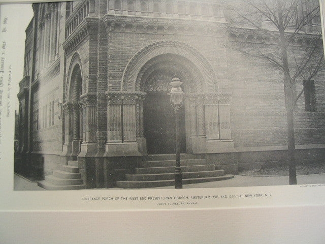 Entrance Porch of the West End Presbyterian Church, Amsterdam Ave. and 105th St., New York, NY, 1892, J. A. and W. T. Wilson