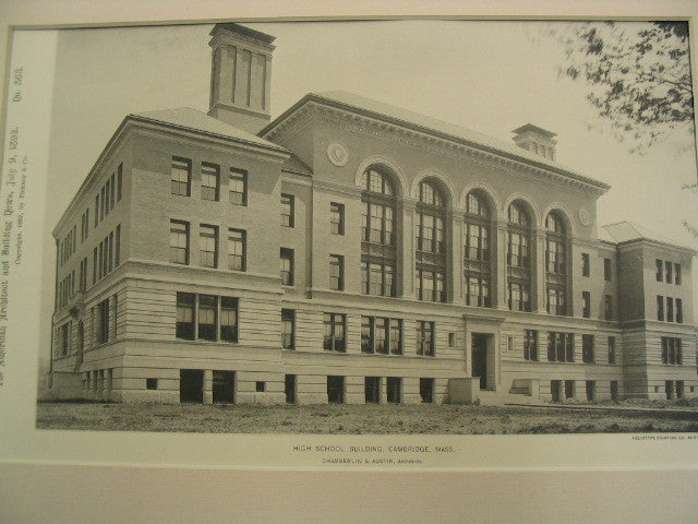 High School Building, Cambridge, MA, 1892, Chamberlin and Austin