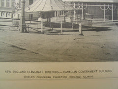 New England Clam-Bake Building and the Canadian Government Building at the World's Columbian Exhibition, Chicago, IL, 1894, Alex Sandier and Robert E. Edis