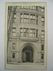 Entrance to Phelps Hall at Yale, New Haven, CT, 1897, C. C. Haight