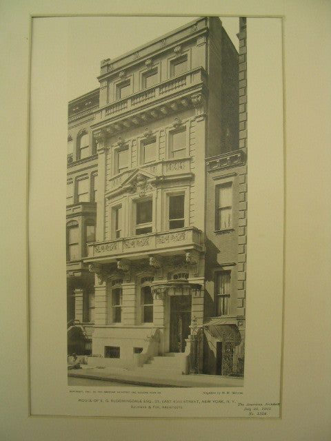 House of E. G. Bloomingdale on East 63rd, New York, NY, 1901, Buchman and Fox