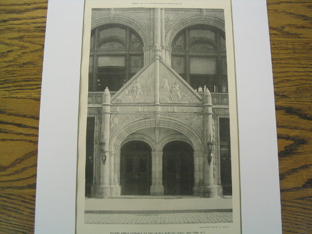 Fourth Avenue Entrance to the Church Missions House, New York, NY, 1894, R. W. Gibson and E. J. N. Stent