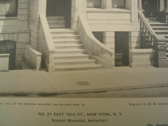 Number 21 on East 76th Street, New York, NY, 1901, Robert Maynicke