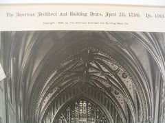 Nave at Trinity Church, New York, NY, 1896, Richard Upjohn
