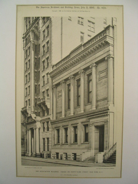 Facade on 43rd Street of the Bar Association Building, New York, NY, 1898, C. L. W. Eidlitz