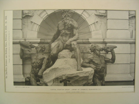 Central Fountain Group at the Library of Congress, Washington, DC, 1898, Roland Hinton Perry