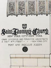 All Saints Cathedral, Font, Halifax, Nova Scotia, 1914, Hand Colored Original *