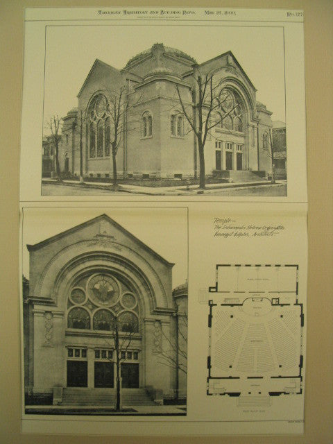 Indianapolis Hebrew Organization Temple, Indianapolis, IN, 1900, Vonnegit and Bohn