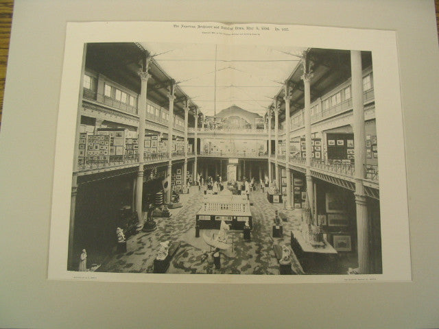 Interior of the Fine Art Building at the World's Columbian Exhibition, Chicago, IL, 1894, Charles B. Atwood