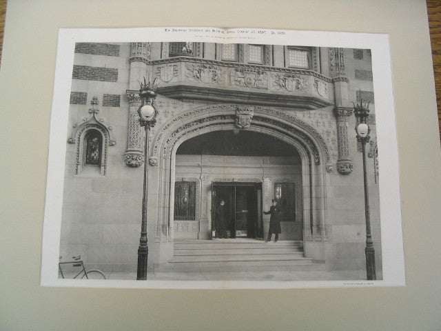 Main Entrance of the Hotel Touraince, Boston, MA, 1897, Winslow and Wetherell