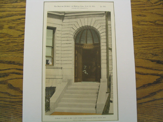 Doorway to House of Mrs. Oliver Ditson, Commonwealth Avenue, Boston, MA, 1891, Rotch & Tilden