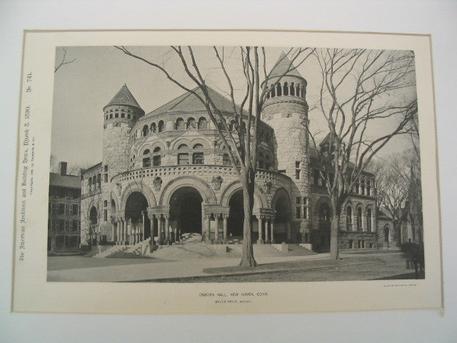 Osborn Hall at Yale, New Haven, CT, 1890, Bruce Price