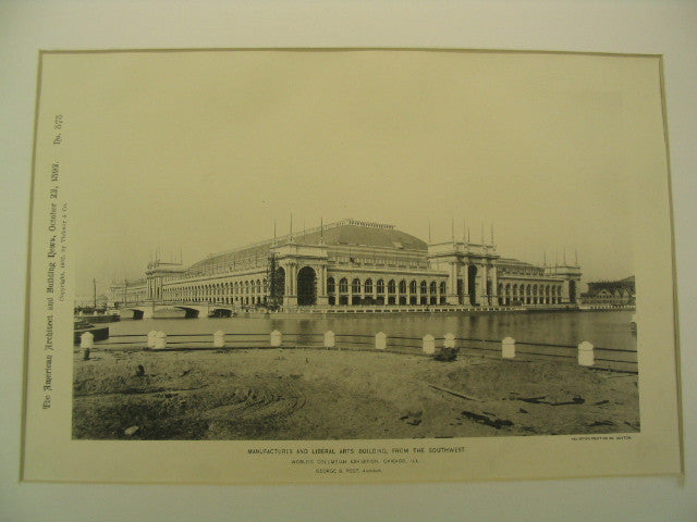 Manufactures and Liberal Arts Building at the World's Columbian Exhibition, Chicago, IL, 1892, George B. Post