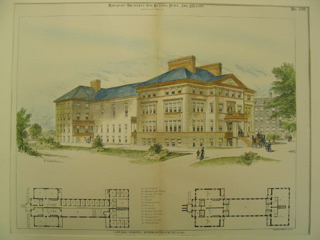 Central Building at the Kindergarten for the Blind, Jamaica Plain, MA, 1893, Walter R. Forbush