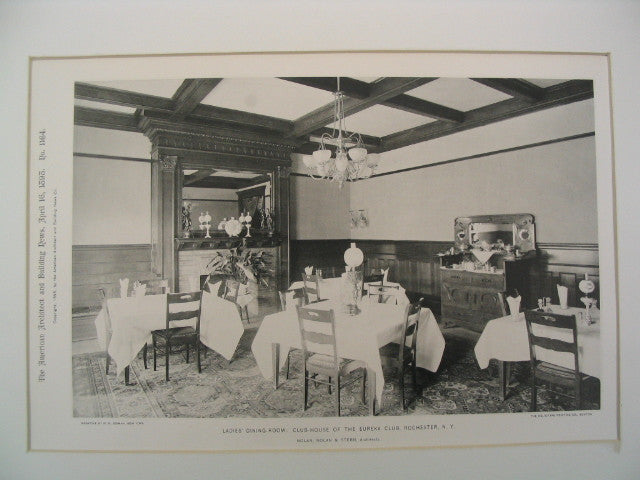 Ladies' Dining-Room in the Club-House of the Eureka Club, Rochester, NY, 1898, Nolan, Nolan & Stern