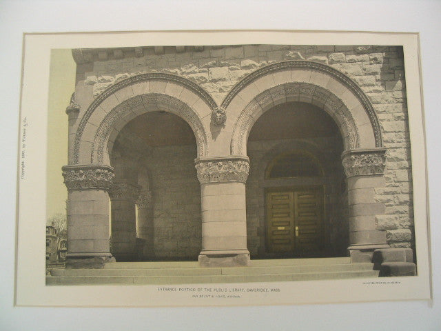 Entrance Portico of the Public Library, Cambridge, MA, 1892, Van Brunt & Howe