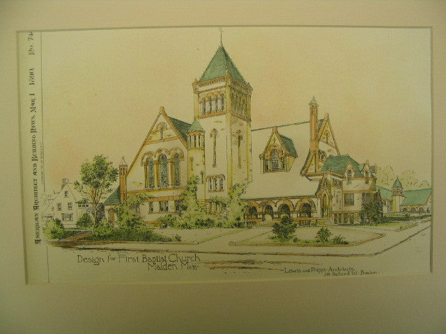 First Baptist Church, Malden, MA, 1890, Lewis and Phipps