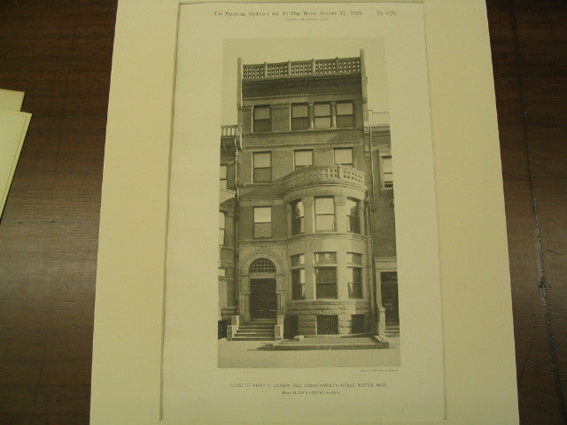 House of Henry C. Jackson, Esq., Commonwealth Avenue, Boston, MA, 1888, Allen and Kenway