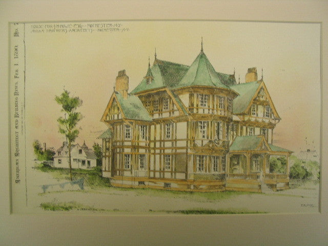 House for J. H. Howe, Esq , Rochester, NY, 1890, Nolan Brothers