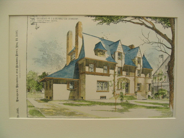 Residence of E. A. de Wolf, St. Louis, MO, 1893, Eames and Young