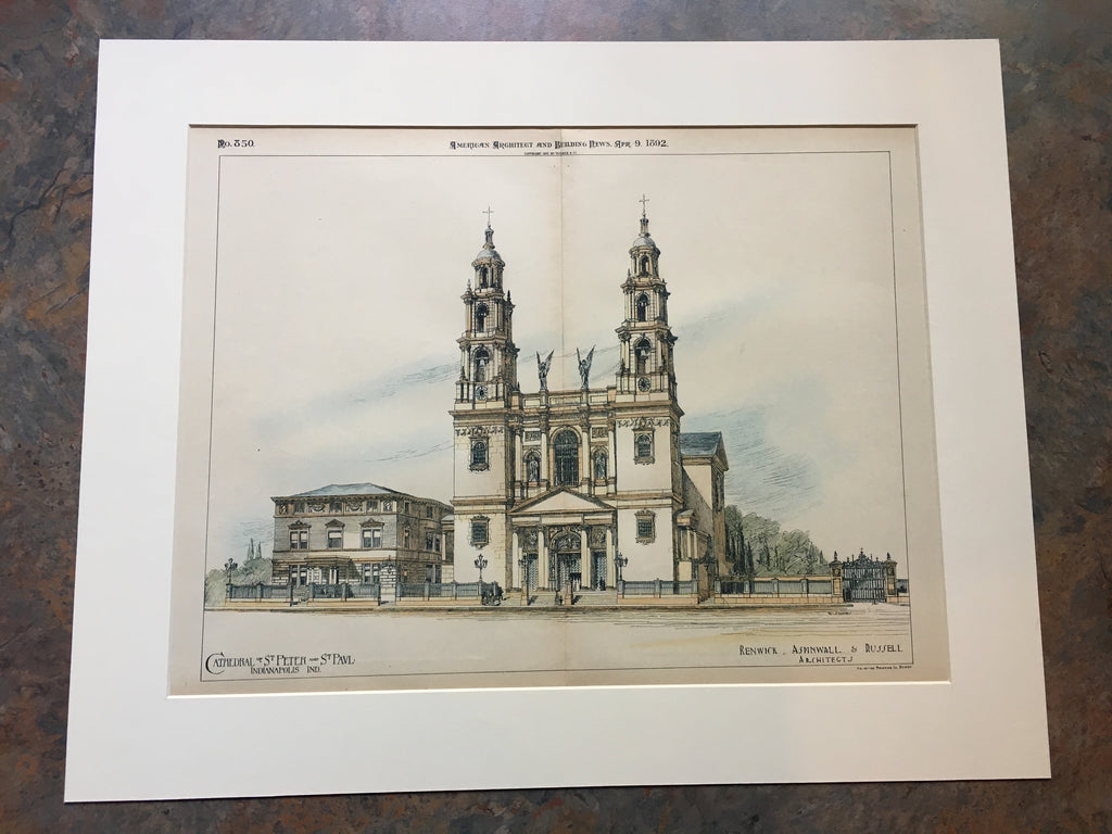 Cathedral of St Peter & St Paul, Indianapolis, IN, 1892, Original Hand Colored *