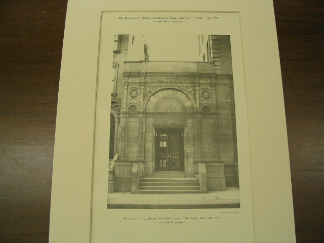 Entrance to the Aurelia Apartment House on Fifth Avenue, New York, NY, 1890, D. and J. Jardine