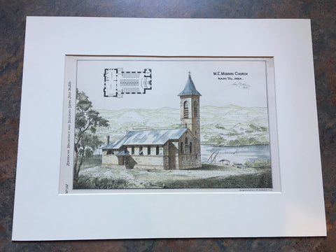 M E Mission Church, Naini Tal, India, 1879, S F Thayer, Original Hand Colored *