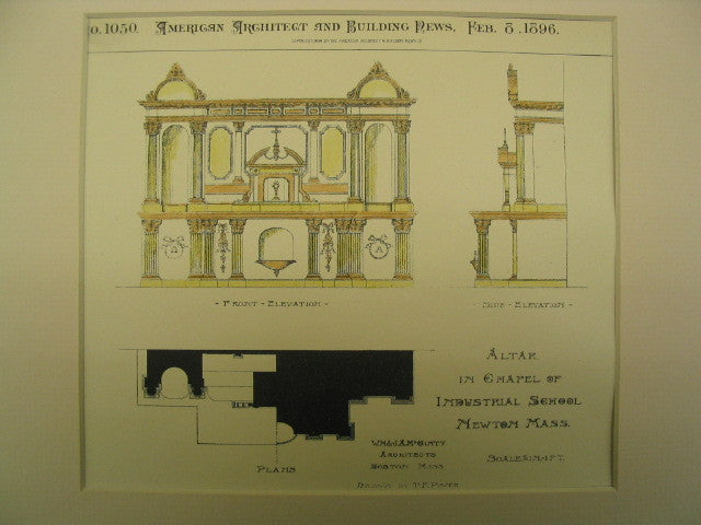Altar in Chapel of Industrial School , Newton, MA, 1896, W. M. and J. A. M. Ginty