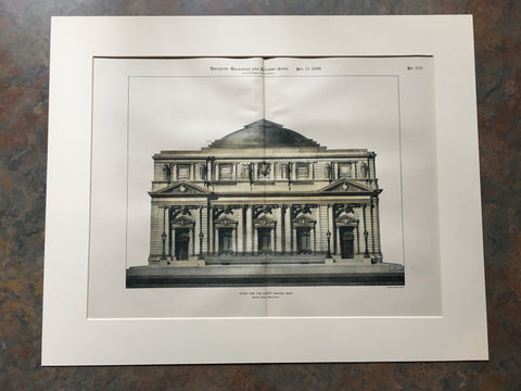Albany Savings Bank, NY, 1899, Bruce Price, Original Hand Colored *