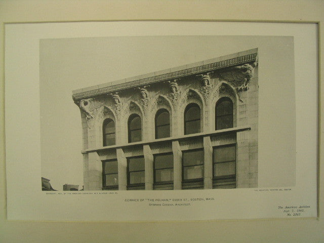 "Cornice of ""The Pelham"" on Essex St., Boston, MA, 1901, Stephen Codman"