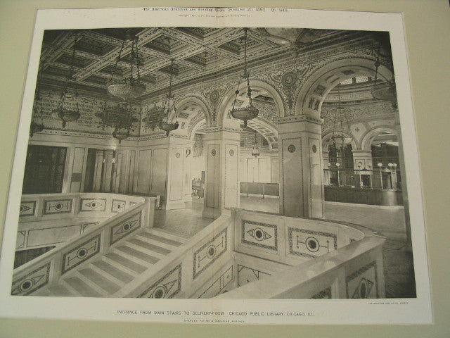 Entrance from Main Stairs to Delivery-Room: Chicago Public Library, Chicago, IL, 1897, Shepley, Rutan and Coolidge