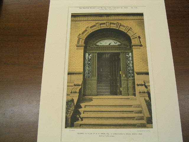 Doorway to the House of W. P. Mason, 211 Commonwealth Avenue, Boston, MA, 1890, Rotch and Tilden