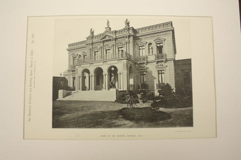 House of Mr. McKenna , Santiago, Chile, LAM, 1890, Unknown